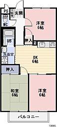 静岡県牧之原市細江の賃貸アパートの間取り