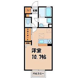 D-room思川ブラン F 1階ワンルームの間取り