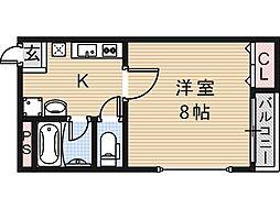 大阪府大阪市住吉区山之内4丁目の賃貸アパートの間取り