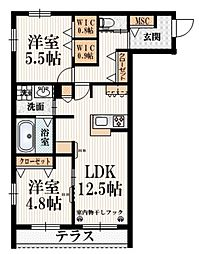京王線 布田駅 徒歩5分の賃貸マンション 1階2LDKの間取り