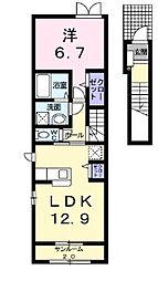 新潟県新発田市西園町3丁目の賃貸アパートの間取り