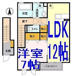 栃木県小山市大字土塔の賃貸アパートの間取り