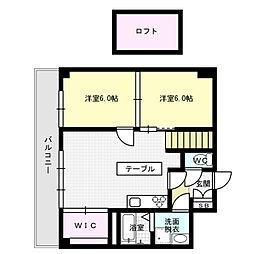 福岡県福岡市博多区東比恵2丁目の賃貸マンションの間取り