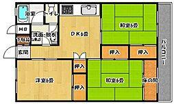 鶴亀コーポ[702号室]の間取り
