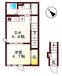 グレイシャス三田 2階1DKの間取り