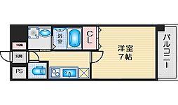 ファーストフィオーレ江坂江の木町パークサイド 4階1Kの間取り