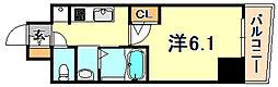 JR東海道・山陽本線 神戸駅 徒歩10分の賃貸マンション 2階1Kの間取り
