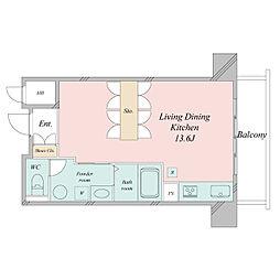 札幌市営東西線 大通駅 徒歩3分の賃貸マンション 14階ワンルームの間取り
