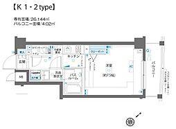 エルミタージュ蒲田南 2階1Kの間取り