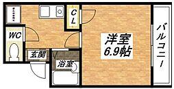 JR関西本線 加美駅 徒歩6分の賃貸マンション 2階1Kの間取り