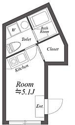 ルクレ神宮前 2階ワンルームの間取り