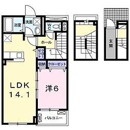 セピアコート宮前I 3階1LDKの間取り