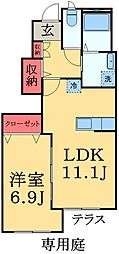 千葉県市原市青柳の賃貸アパートの間取り