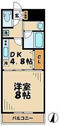 京王相模原線 京王多摩センター駅 徒歩1分の賃貸マンション 5階1DKの間取り