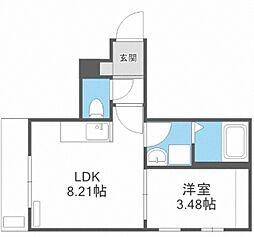 JR鹿児島本線 博多駅 徒歩14分の賃貸アパート 2階1LDKの間取り