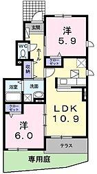 レジデンスイナリA[2階]の間取り