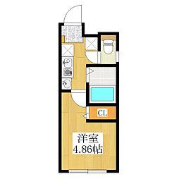 仮称 王子一丁目マンション B棟 3階1Kの間取り
