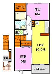 関東鉄道常総線 下妻駅 5.1kmの賃貸アパート 2階2LDKの間取り