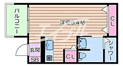 Osaka Metro今里筋線 太子橋今市駅 徒歩5分の賃貸アパート 2階ワンルームの間取り