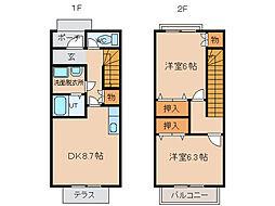 [テラスハウス] 富山県富山市本郷新 の賃貸【/】の間取り