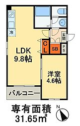Dear Court稲毛海岸 4階1LDKの間取り