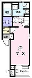東武東上線 東松山駅 徒歩20分の賃貸アパート 1階1Kの間取り