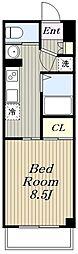 小田急江ノ島線 湘南台駅 徒歩8分の賃貸マンション 5階1Kの間取り