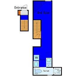 東京メトロ日比谷線 築地駅 徒歩4分の賃貸アパート 2階ワンルームの間取り