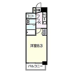 プレデコート北田辺 9階1Kの間取り