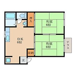 滋賀県近江八幡市田中江町の賃貸アパートの間取り