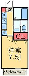 JR総武本線 東千葉駅 徒歩15分の賃貸アパート 2階1Kの間取り
