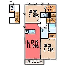栃木県小山市犬塚7丁目の賃貸アパートの間取り