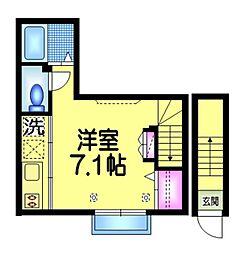東京メトロ東西線 葛西駅 徒歩19分の賃貸アパート 2階ワンルームの間取り