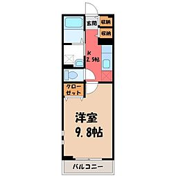 栃木県宇都宮市細谷1丁目の賃貸アパートの間取り