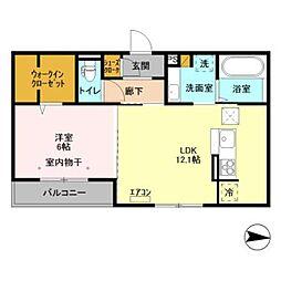 つくばエクスプレス 柏の葉キャンパス駅 徒歩25分の賃貸アパート 1階1LDKの間取り