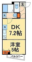 フォレストM24 2階1DKの間取り