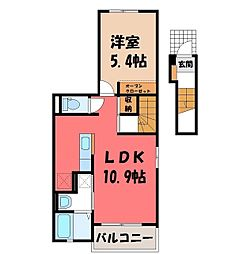 Casa Ferio 2階1LDKの間取り