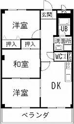 愛知県一宮市今伊勢町馬寄字志水の賃貸アパートの間取り