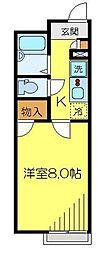 東武東上線 若葉駅 徒歩10分の賃貸アパート 2階1Kの間取り