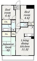 神奈川県大和市下鶴間2丁目の賃貸マンションの間取り