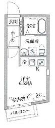 PASEO目黒II 3階ワンルームの間取り