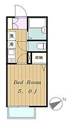 東京都八王子市東中野の賃貸アパートの間取り