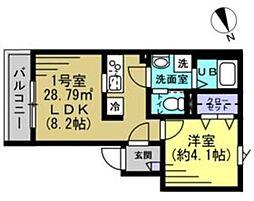 つくばエクスプレス 八潮駅 徒歩6分の賃貸アパート 3階1LDKの間取り