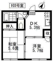 クリード伊藤2号館[103号室]の間取り