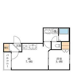 仮称 宮坂2丁目メゾン 2階1DKの間取り