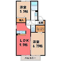 栃木県栃木市薗部町2丁目の賃貸アパートの間取り