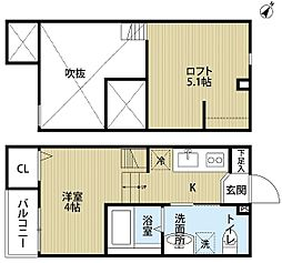 南海線 湊駅 徒歩6分の賃貸アパート 2階ワンルームの間取り