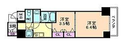 レジュールアッシュ梅田AXIA 13階2Kの間取り