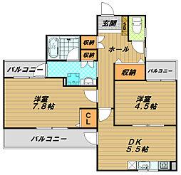 ホップス板宿[5階]の間取り