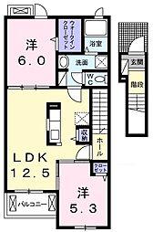 JR八高線 金子駅 徒歩17分の賃貸アパート 2階2LDKの間取り